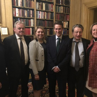 Friends of the Conservative Party at a campaigning event in March 2018 (L-R: Caroline Nokes MP,  Gutto Bebb MP,  Karen Bradley MP, Gavin Williamson MP, Alexander Temerko,  Anne-Marie Trevelyan MP)