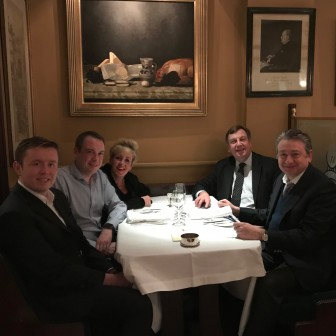 Our small B&W Party with Conservative Party colleagues. Having dinner at a favourite restaurant of Winston Churchill.