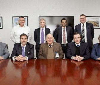 OGN senior management with MP James Wharton and property developer Sir John Hall at OGN's Hadrian Yard facility in Tyneside