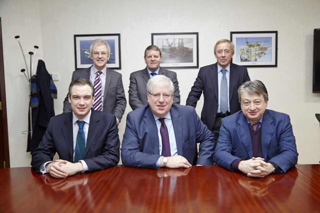 Rt Hon Patrick McLoughlin (centre) with James Wharton MP (left), Alexander Temerko (right) and OGN management.