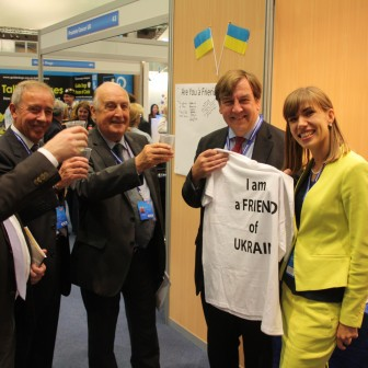 At Ukraine stand at Conservative Party Conference