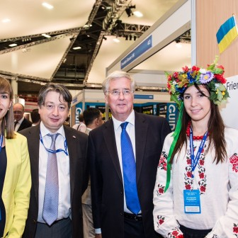 With Michael Fallon at Ukraine stand at Conservative Party Conference