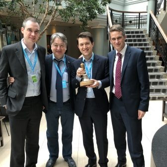 With friends at the Conservative Party Conference 2018 - James Wharton, Tom Spiller, and Gavin Williamson MP